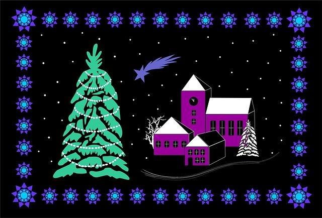 vánoční tématika na pohlednici
