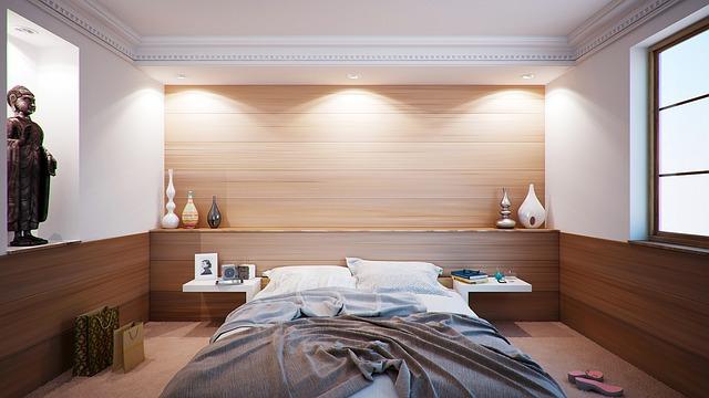 dřevěné obložení ložnice