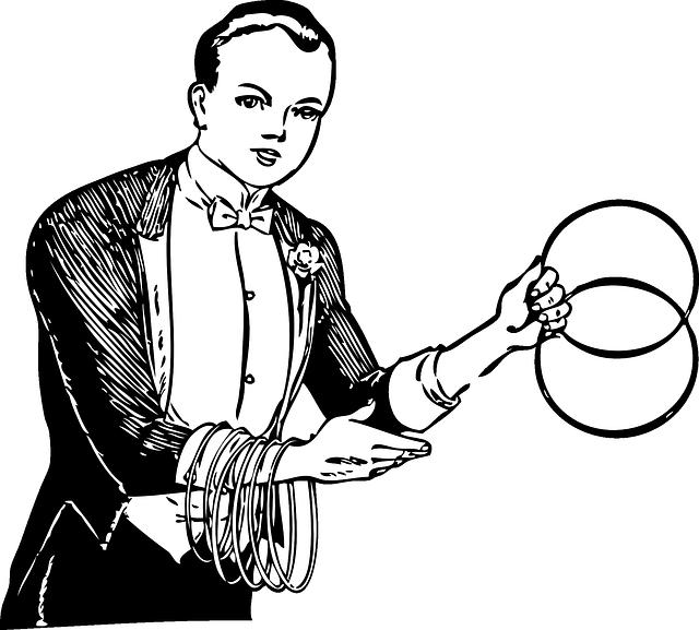 kreslený obrázek kouzelníka s kruhy