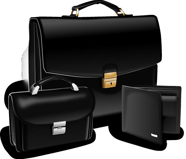 kožená kabelka, aktovka a peněženka