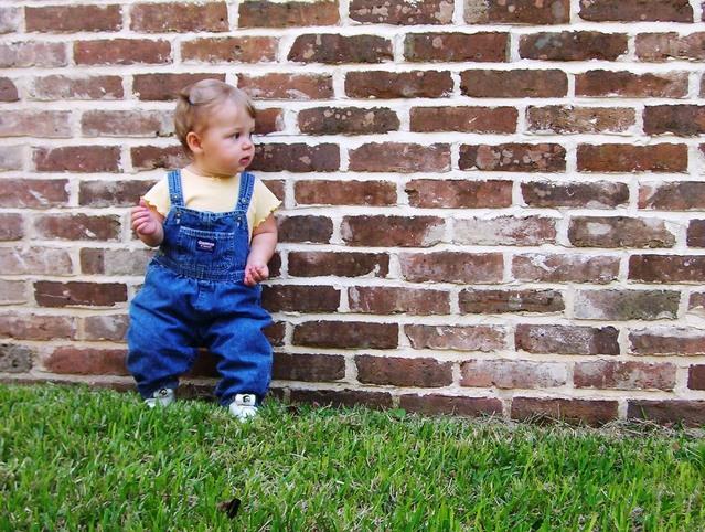 malé dítě opřené o cihlovou zídku u trávníku