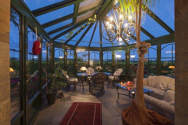interiér prosklené zimní zahrady
